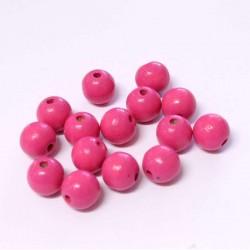 Korálky dřevěné 10mm 15ks růžová