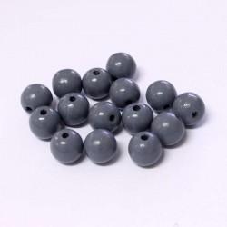 Korálky dřevěné 10mm 15ks tmavě šedá