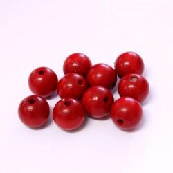 Korálky dřevěné 12mm 10ks červená
