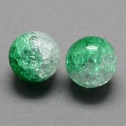 Korálky práskané plast 8mm 20ks zelená, průhledná