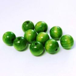Korálky dřevěné 12mm 10ks zelená
