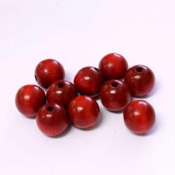 Korálky dřevěné 12mm 10ks cihlově červená