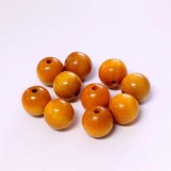 Korálky dřevěné 12mm 10ks oranžovo-žlutá