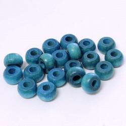 Korálky dřevěné 10x6mm 20ks modrá