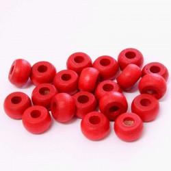 Korálky dřevěné 10x6mm 20ks červená