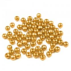 Voskované perličky plast 4mm 100ks zlatá