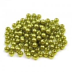 Voskované perličky plast 5mm 100ks žluto-zelená