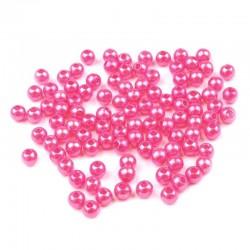 Voskované perličky plast 4mm 100ks růžová