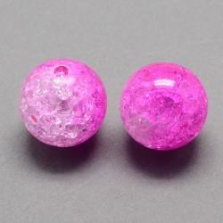 Korálky práskané plast 8mm 20ks růžová, průhledná