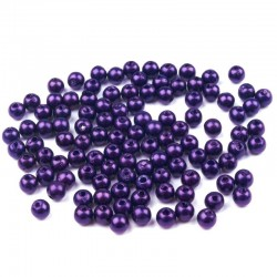 Voskované perličky plast 4mm 100ks modro-fialová tmavá
