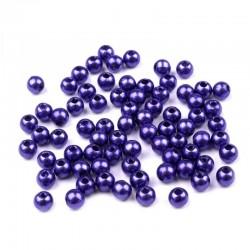 Voskované perličky plast 4mm 100ks modrá námořnická