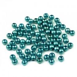 Voskované perličky plast 4mm 100ks modrá