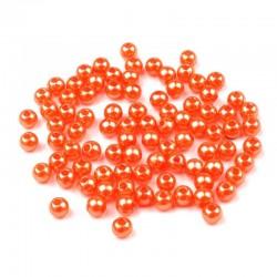 Voskované perličky plast 5mm 100ks oranžová