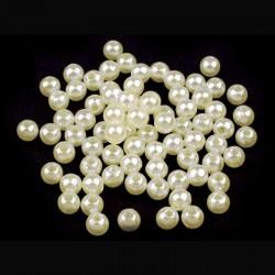 Voskované perličky plast 5mm 100ks smetanová