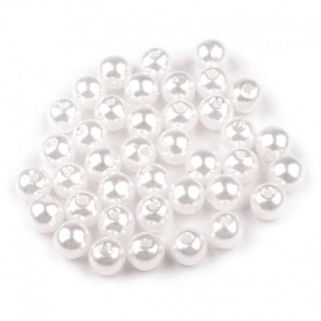 Voskované perličky plast 6mm 50ks bílá