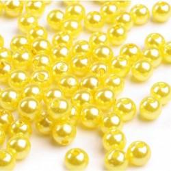 Voskované perličky plast 6mm 50ks žlutá