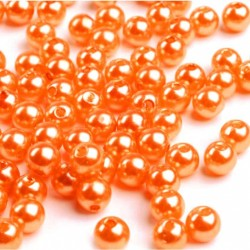 Voskované perličky plast 6mm 50ks oranžová