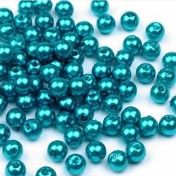 Voskované perličky plast 6mm 50ks modrá