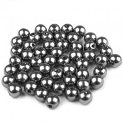 Voskované perličky plast 6mm 50ks šedá