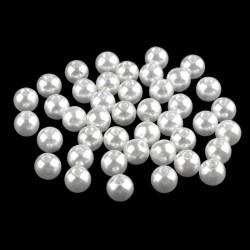 Voskované perličky plast 8mm 20ks bílá