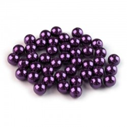 Voskované perličky plast 8mm 20ks fialová tmavá