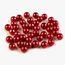 Voskované perličky plast 8mm 20ks červená tmavá