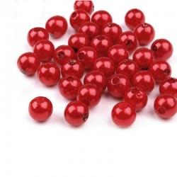 Voskované perličky plast 8mm 20ks červená