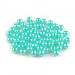 Voskované perličky plast 8mm 20ks tyrkysová světlá