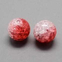 Korálky práskané plast 12mm 6ks červená