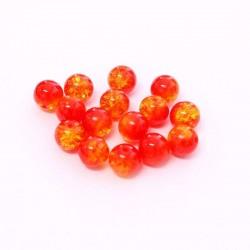 Korálky práskané 8mm 15ks červeno-žlutá