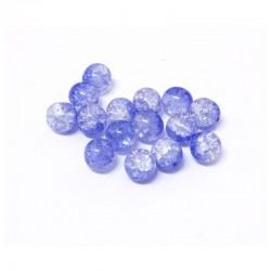 Korálky práskané 8mm 15ks modro-průhledná