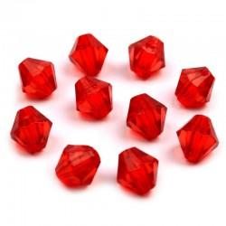 Korálky broušené plast sluníčko 6mm 50ks červená