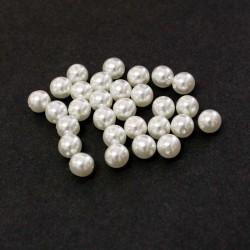 Voskované perle 6mm 30ks bílá