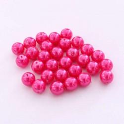 Voskované perle 6mm 30ks růžová tmavá