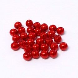 Voskované perle 6mm 30ks červená