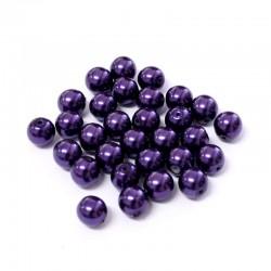 Voskované perle 6mm 30ks fialová tmavá
