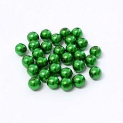 Voskované perle 6mm 30ks zelená tmavá