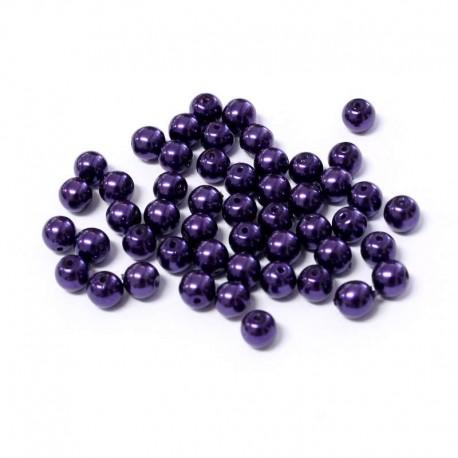 Voskované perle 4mm 50ks fialová tmavá