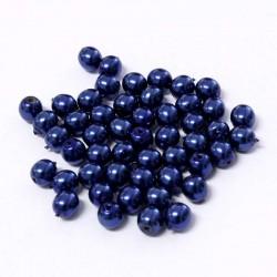 Voskované perle 4mm 50ks modrá tmavá
