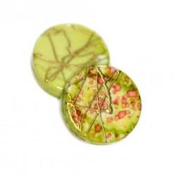 Korálky plastové 18mm 5ks zeleno-zlatá