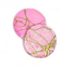 Korálky plastové 18mm 5ks růžovo-zlatá