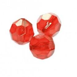 Korálky broušené plast 6mm 350ks červená