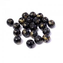 Korálky plast mramorované 8mm 30ks černá