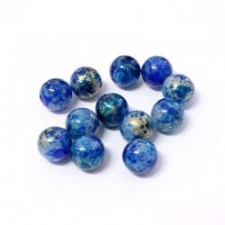 Korálky plast mramorované 10mm 15ks modrá