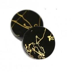 Korálky plastové 18mm 5ks černo-zlatá