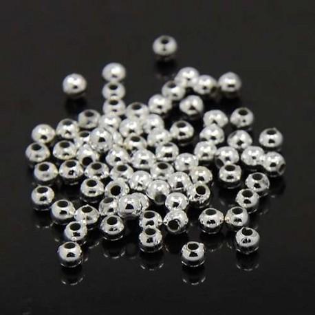 Korálky plastové 3mm 200ks stříbrná