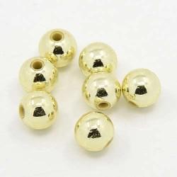Korálky plastové 3mm 200ks zlatá světlá