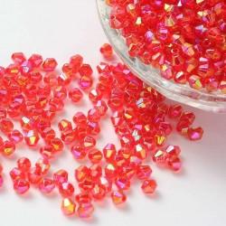 Korálky broušené plast sluníčko 6mm 40ks červená s AB