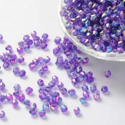 Korálky broušené plast sluníčko 6mm 40ks fialová s AB