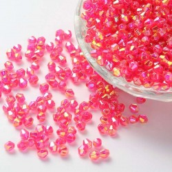 Korálky broušené plast sluníčko 6mm 40ks růžová s AB
